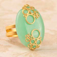 Sea Breeze Jade Stone Bubbles Ring - Unique Vintage - Cocktail, Evening  Pinup Dresses