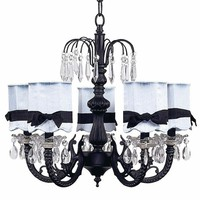 5-Arm Waterfall Chandelier in Black with Scalloped Blue &amp; Black Shades by Jubilee Collection, Chandeliers, Lighting for Boys