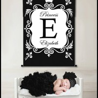 Chic Royal Crown Personalized Wall Hanging by Dish and Spoon Productions, Wall Hangings,Personalized Art, Art for Girls