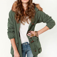 Obey Sherpa Bridgeport 2 Army Green Parka Jacket