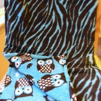 Fleece and Ultra Cuddle Baby Blanket - Owls and Zebra print