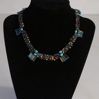 25% Off With Coupon HOLIDAY-Freshwater Teal Pearl and Glass Bead Necklace-One Of A Kind