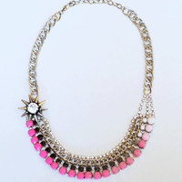 painted neon rhinestone necklace ombre Black by ColorblockShop