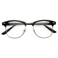Vintage Inspired Classic Clubmaster Nerd Wayfarers UV400 Clear Lens Glasses