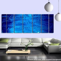 Metal Abstract Wall Art / Large Blue Rain Multi by statements2000