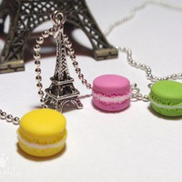 French macaron necklace with Eiffel tower charm by Plushable