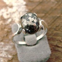 Mysterious  Sterling Silver Ring with Pyrite by Firefallstudios