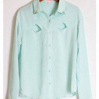 Icy Blue Cutout Blouse