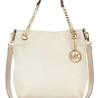 Michael Kors Dove White Python Embossed Leather Jet Set MD Chain Tote Shoulder Bag Handbag Purse