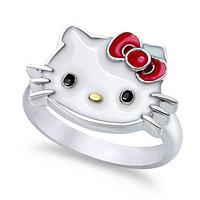 Hello Kitty Sterling Silver Ring, Enamel Face Ring - Rings - Jewelry & Watches - Macy's