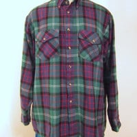Vintage Amazing 80s PLAID FLANNEL BUTTON Up Outdoors Super Soft Acrylic Large Winter Classic Grunge Men Shirt