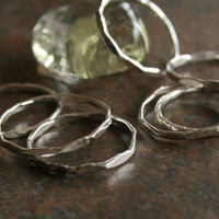 Fine silver hand wrought stacker ring ... made to order by simplycindy