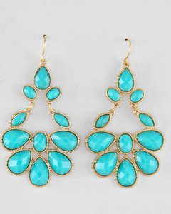 Gold Tone Faceted Turquoise Acrylic Drop Dangle Statement Chandelier Earrings