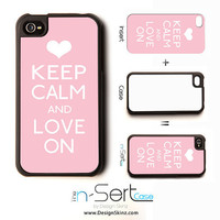 NEW Keep Calm & Love On n-Sert iPhone 4, 4s, 5 Case with Changeable Inserts