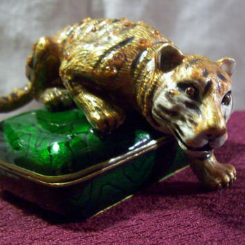 Jeweled and Enameled Metal Trinket Box with Tiger Rhinestone Emerald Green