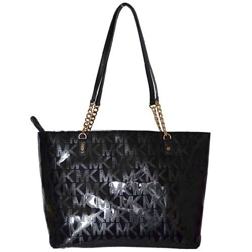 NWT MK Michael Kors Black Mirror Metallic N/S Jet Set Chain Tote Handbag