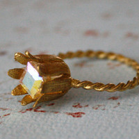 Clearance Sale - Vintage Flower Ring with Aurora Borealis Crystal, Petals, Floral, Twisted Band, Stocking Stuffer, Christmas Gift