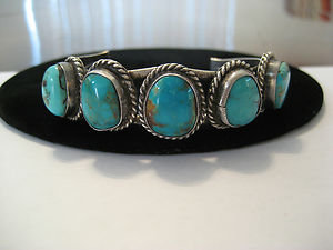 Lovely Vintage Navajo Sterling Silver Five Stone Turquoise Cuff, c1960s