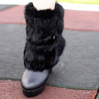 Gorgeous Hot Sale Ladies Black Pumps with Fur : Wholesaleclothing4u.com