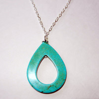 Howlite Turquoise Hollow Teardrop Charm Necklace