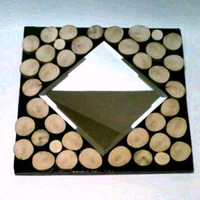 Rustic Mirror, Log Art, Mirror. Collage, Upcycled Wood