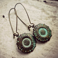 Sunflower Bohemian Earrings In Verd.. on Luulla