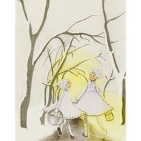 Girls in the Winter Woods Wintry yellow and white by zirkulas