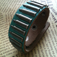 Bullets leather warp bracelet Blue green Free by Victorianstudio