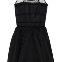 Red Valentino|Mesh-yoke taffeta dress|NET-A-PORTER.COM