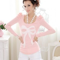 Cute Style Womens Long Puff Sleeve Bow Printed T-Shirt  -  BuyTrends.com
