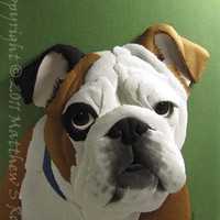 English BULLDOG Dog Paper Sculpture 8 x 10 by by PaperMatthew