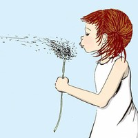 Helena Signed Art Print Girl blowing dandelion seeds by zirkulas
