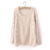Winter Woolen Side Polka Dot twisted Diamond Pattern Sweater 3 colors