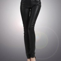 Black Skinny PU Leather Leggings