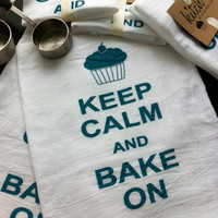 Keep Calm and Bake On Flour Sack Tea Towel Retro Cotton Dish Cloth Kitsch Cupcake Teal