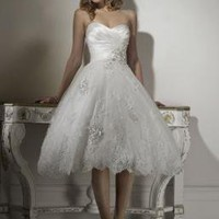 Romantic Sweetheart Ball Gown Tea Length  Wedding Dress