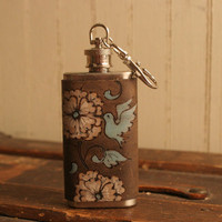 2oz Flask Key chain  Leather and Stainless Steel by moxieandoliver