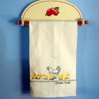Embroidered Linen Tea Towel, Dish Chicks