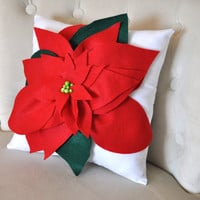 Poinsettia Pillow 14 x 14 Christmas Holiday Decor by bedbuggs