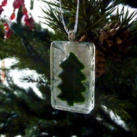 Green and Silver Glass Holiday  Tree Ornament
