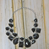Faceted Statement Bib Necklace - Black/Silver | .H.C.B.