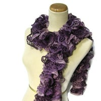 Purple Hand Knit Ruffled Scarf