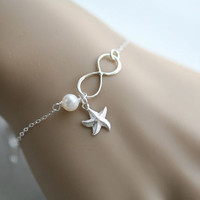 Infinity and birthstone bracelet,Starfish bracelet,Beach wedding,infinity bracelet,bridesmaid gifts,sisterhood,customize birthstone,wedding