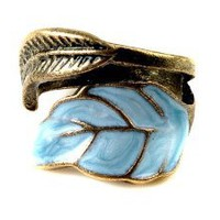 Amazon.com: Vintage Style Women&#x27;s Elegant Enamel Unique Leaves Ring: Jewelry