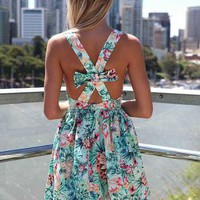 Floral Sleeveless Dress with Cross Bow Back&amp;Gathered Waist