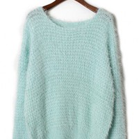Fluffy Waffle Jumper in Mint - Sweaters - Tops - Retro, Indie and Unique Fashion
