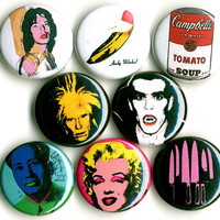 Andy Warhol button badge pin set lot collection of 8 velvet underground