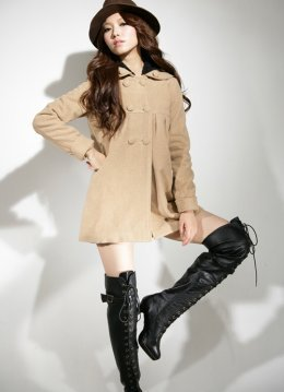 Super Keep Warmer Apricot Fur Loose Coats : Wholesaleclothing4u.com