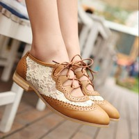 Lace Cutout Oxford by Seek Vintage