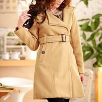 Korean Style Lapel Zipper Long Camel Coats : Wholesaleclothing4u.com